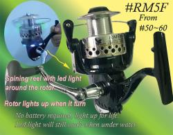 Osprey spinning reel with led light. Led light on spinning reel does not requires any battery work for life.