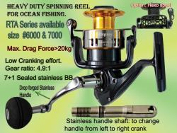 Osprey heavy duty spinning reels for freshand saltwater. Spinning reels with a max drag of 25kg. Available online at our FB shop front