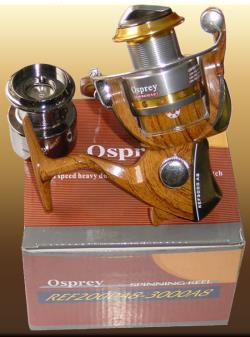 Osprey spinning reels with a wooden pattern body. Size #5000 with 8BB spinning reel